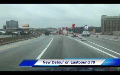 Eastbound 70 detour at the Blanchette Bridge Westplex